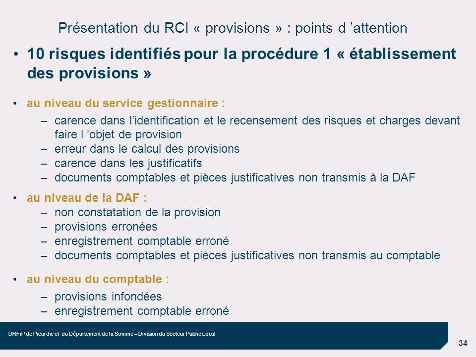 Présentation du RCI « provisions » : points d 'attention