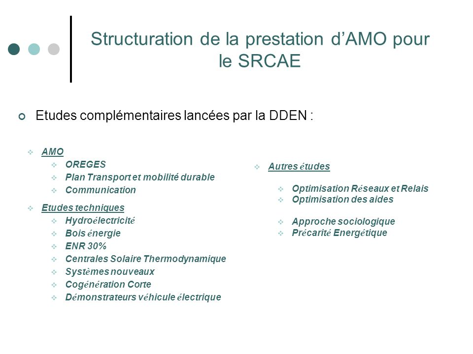 Structuration de la prestation d'AMO pour le SRCAE