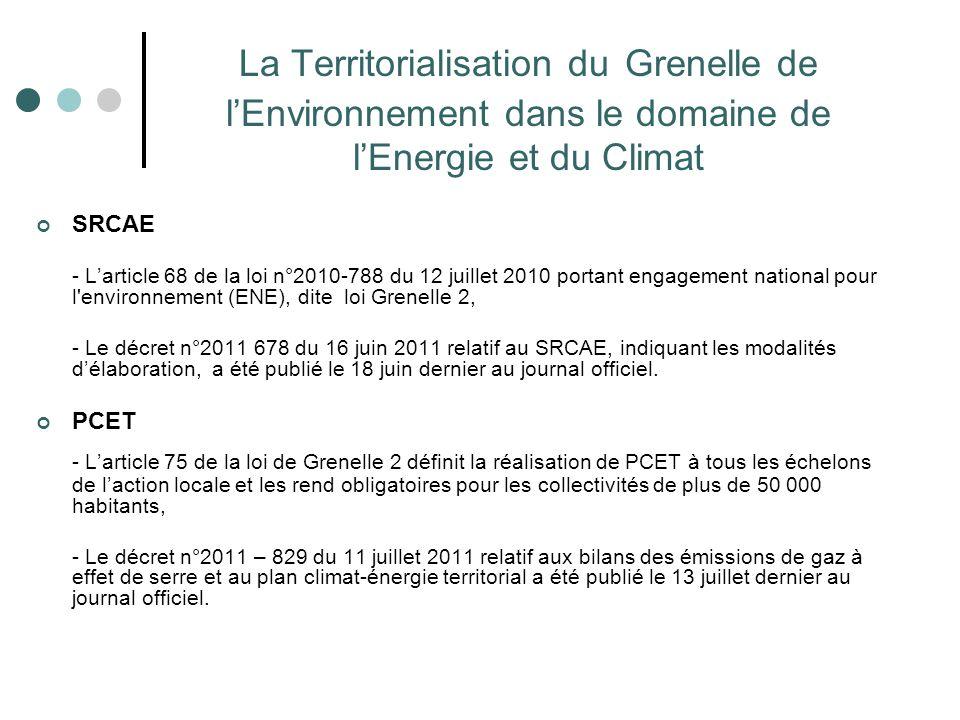 La Territorialisation du Grenelle de l'Environnement dans le domaine de l'Energie et du Climat