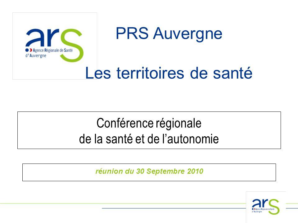 PRS Auvergne Les territoires de santé