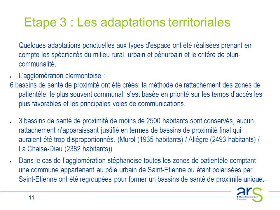 Etape 3 : Les adaptations territoriales