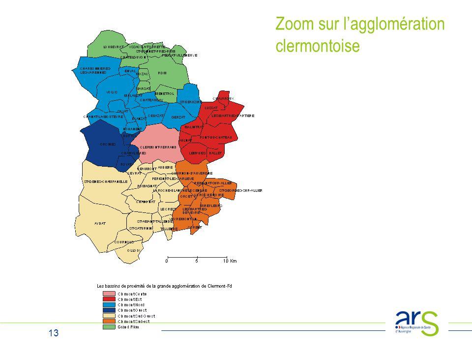 Zoom sur l'agglomération clermontoise