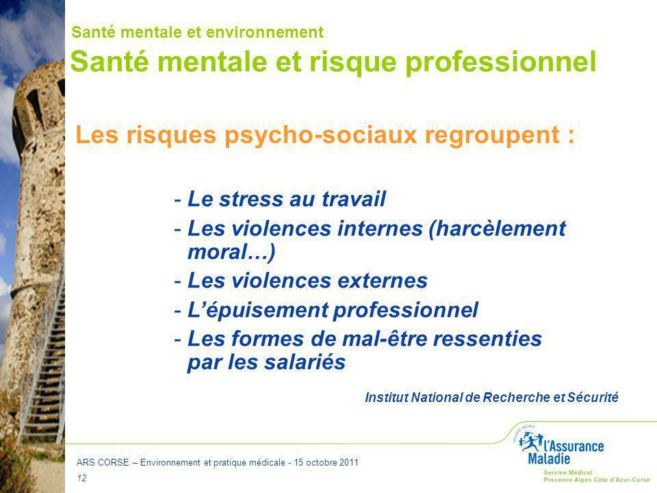 Santé mentale et risque professionnel