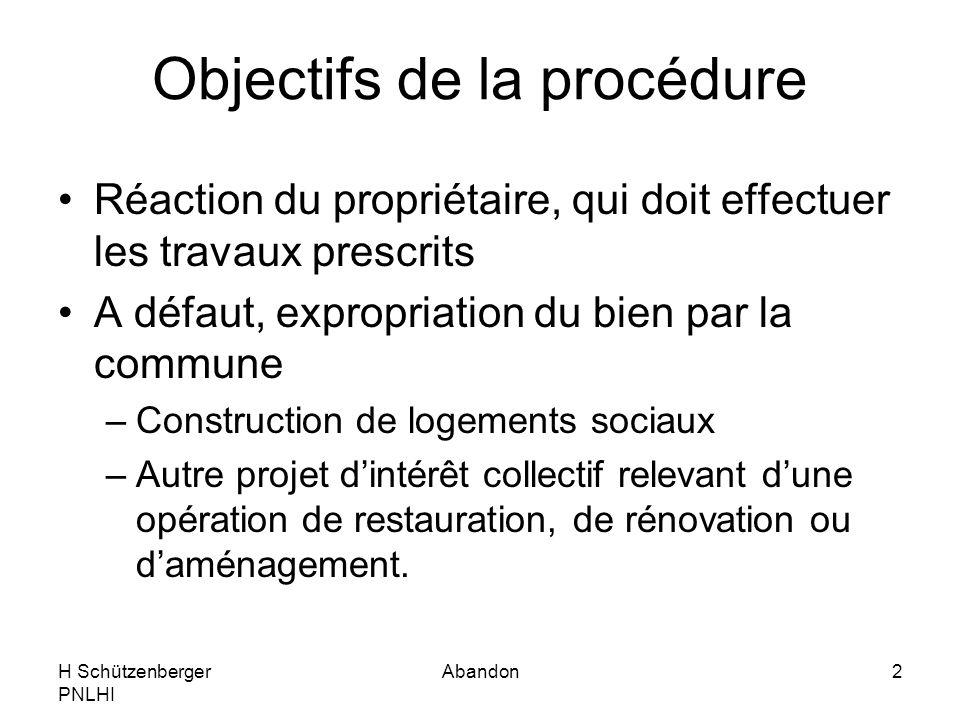 Objectifs de la procédure