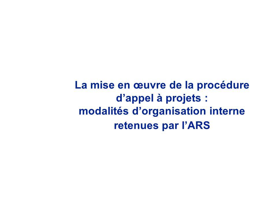 La mise en œuvre de la procédure d'appel à projets :