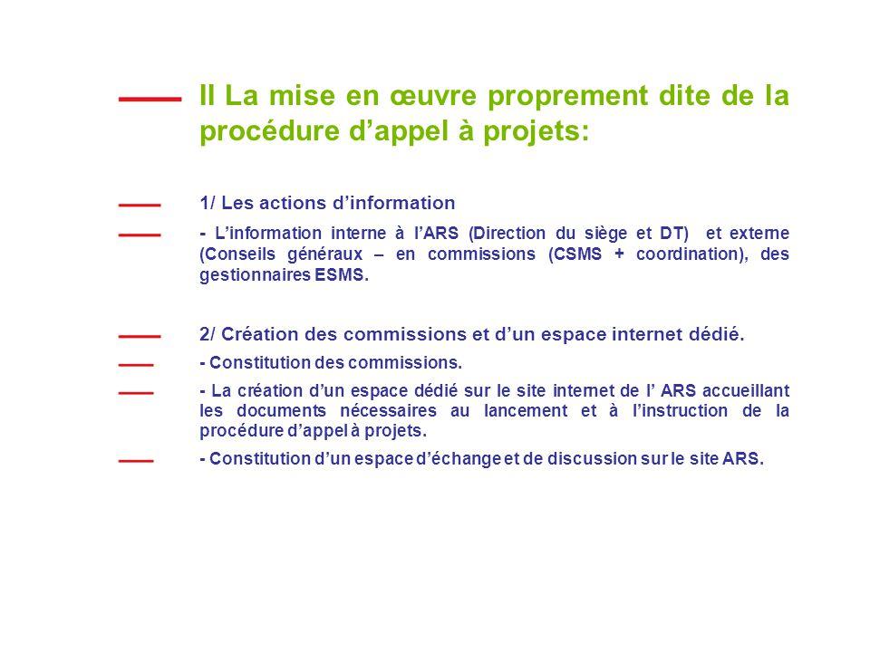 II La mise en œuvre proprement dite de la procédure d'appel à projets: