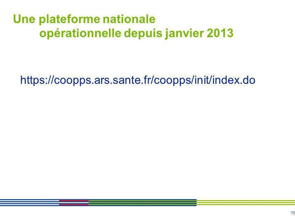 Une plateforme nationale opérationnelle depuis janvier 2013
