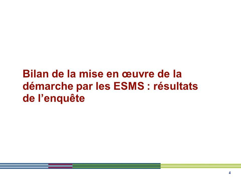 Bilan de la mise en œuvre de la démarche par les ESMS : résultats de l'enquête