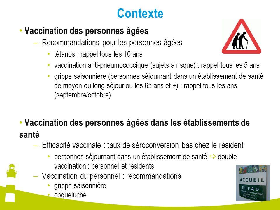 Contexte Vaccination des personnes âgées