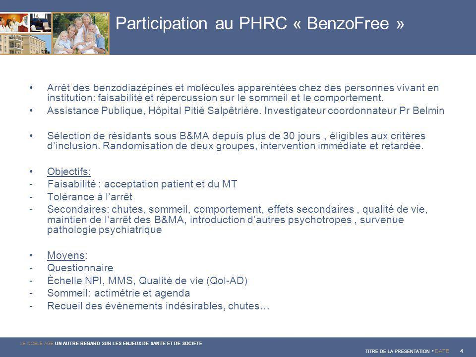 Participation au PHRC « BenzoFree »
