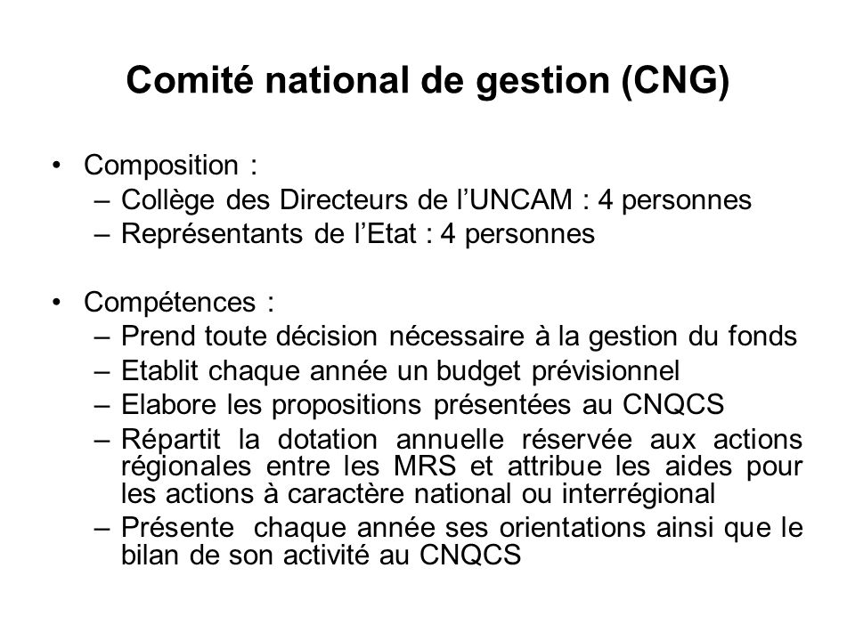 Comité national de gestion (CNG)