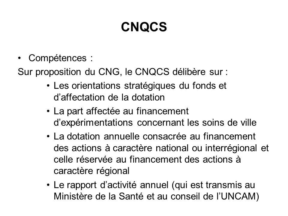 CNQCS Compétences : Sur proposition du CNG, le CNQCS délibère sur :