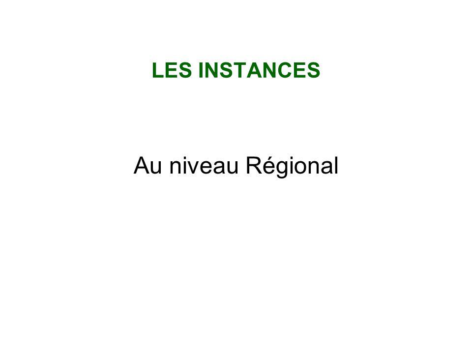 LES INSTANCES Au niveau Régional