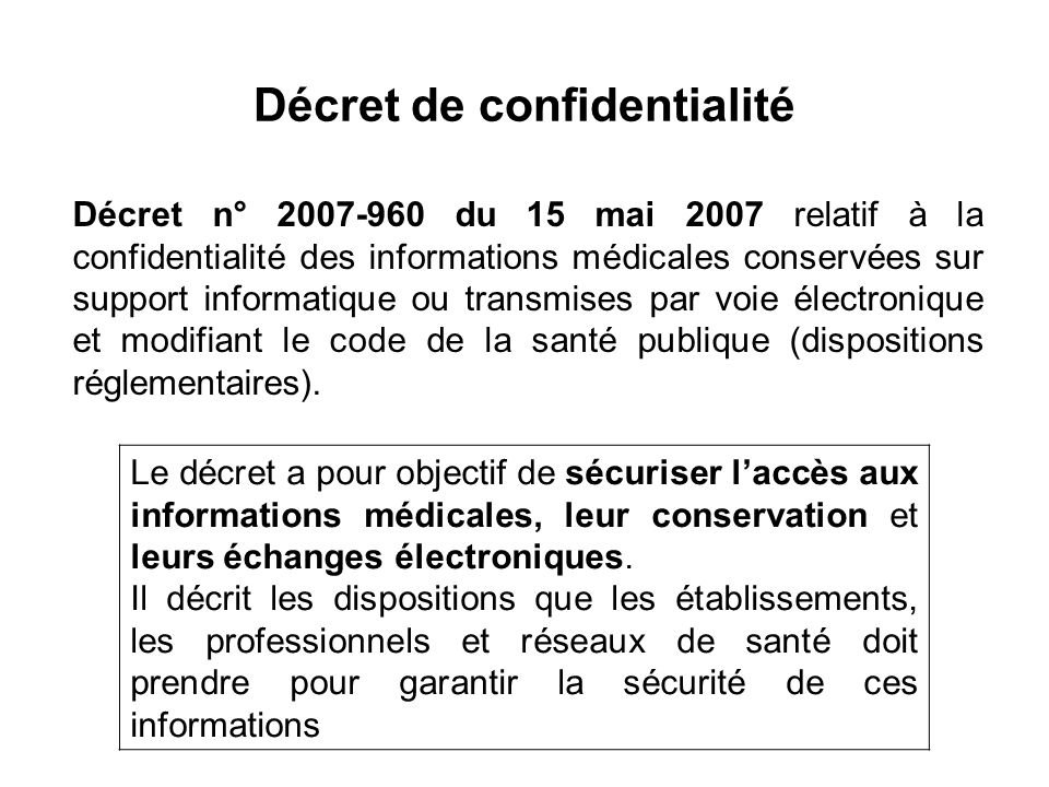 Décret de confidentialité
