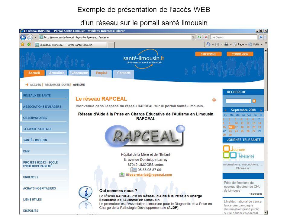 Exemple de présentation de l'accès WEB