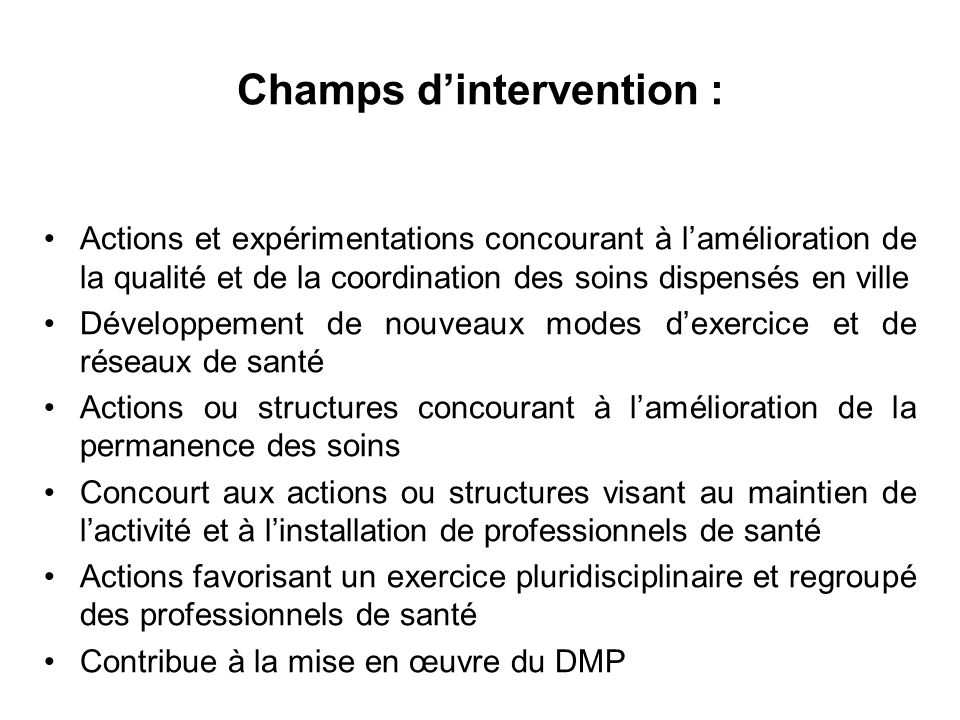 Champs d'intervention :