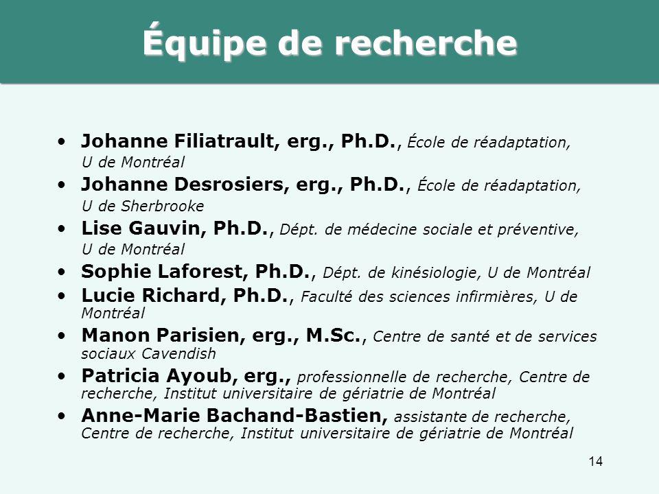 Équipe de recherche Johanne Filiatrault, erg., Ph.D., École de réadaptation, U de Montréal. Johanne Desrosiers, erg., Ph.D., École de réadaptation,
