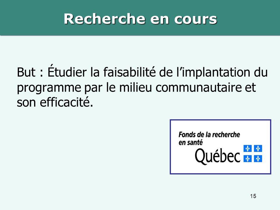 Recherche en cours But : Étudier la faisabilité de l'implantation du programme par le milieu communautaire et son efficacité.