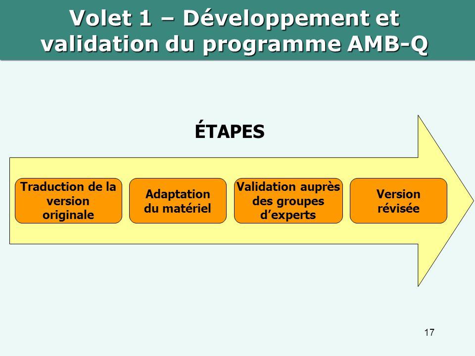 Volet 1 – Développement et validation du programme AMB-Q
