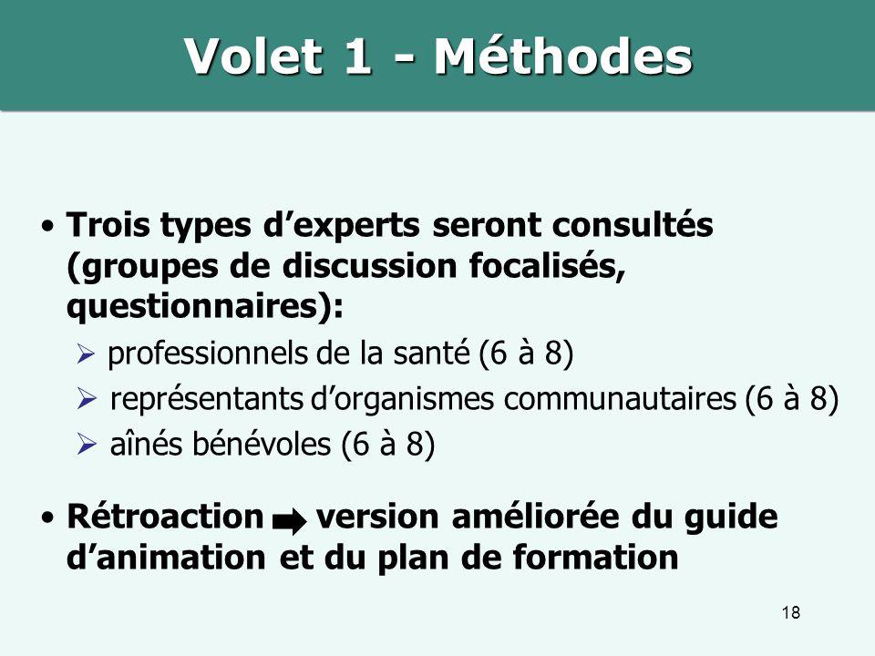 Volet 1 - Méthodes Trois types d'experts seront consultés (groupes de discussion focalisés, questionnaires):
