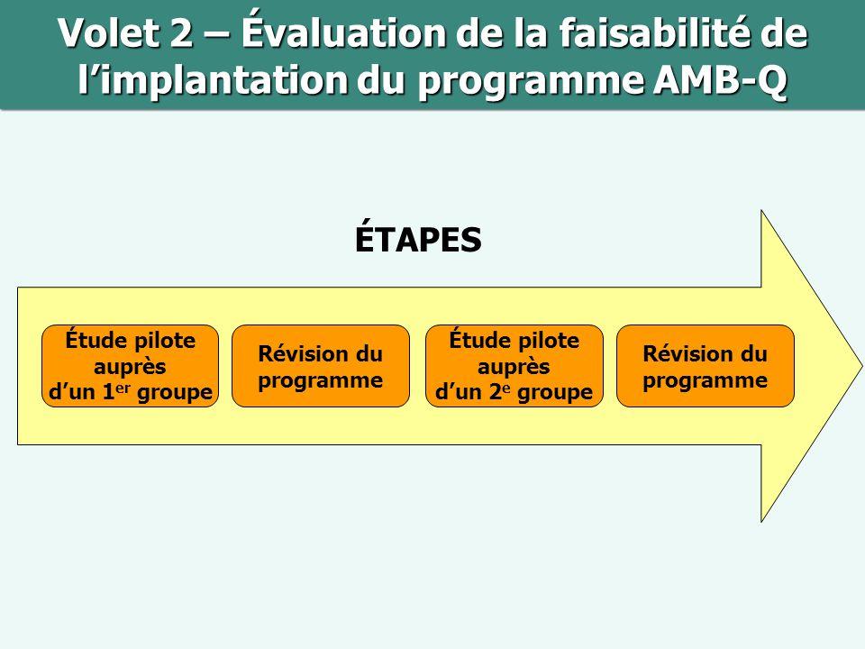 Volet 2 – Évaluation de la faisabilité de l'implantation du programme AMB-Q