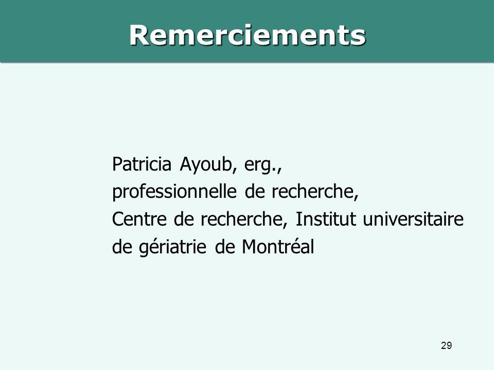 Remerciements Patricia Ayoub, erg., professionnelle de recherche, Centre de recherche, Institut universitaire de gériatrie de Montréal