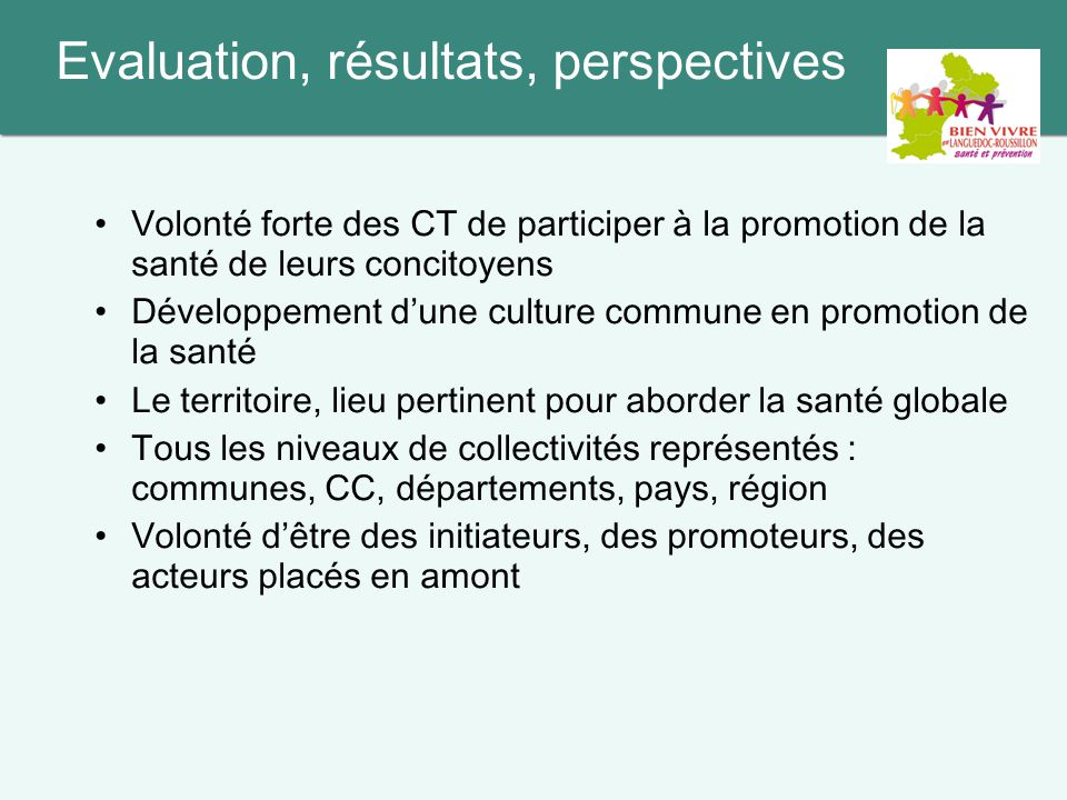 Evaluation, résultats, perspectives