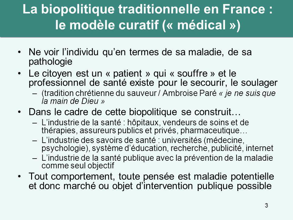 La biopolitique traditionnelle en France : le modèle curatif (« médical »)