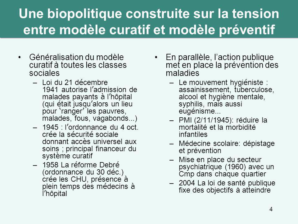 Une biopolitique construite sur la tension entre modèle curatif et modèle préventif