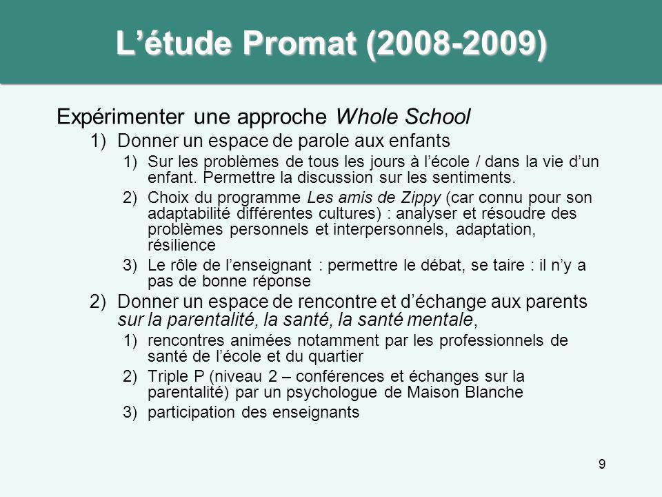 L'étude Promat (2008-2009) Expérimenter une approche Whole School
