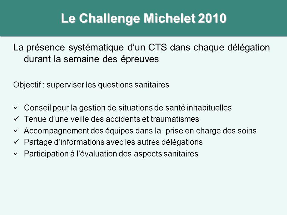 Le Challenge Michelet 2010 La présence systématique d'un CTS dans chaque délégation durant la semaine des épreuves.