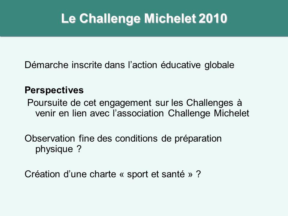 Le Challenge Michelet 2010 Démarche inscrite dans l'action éducative globale. Perspectives.