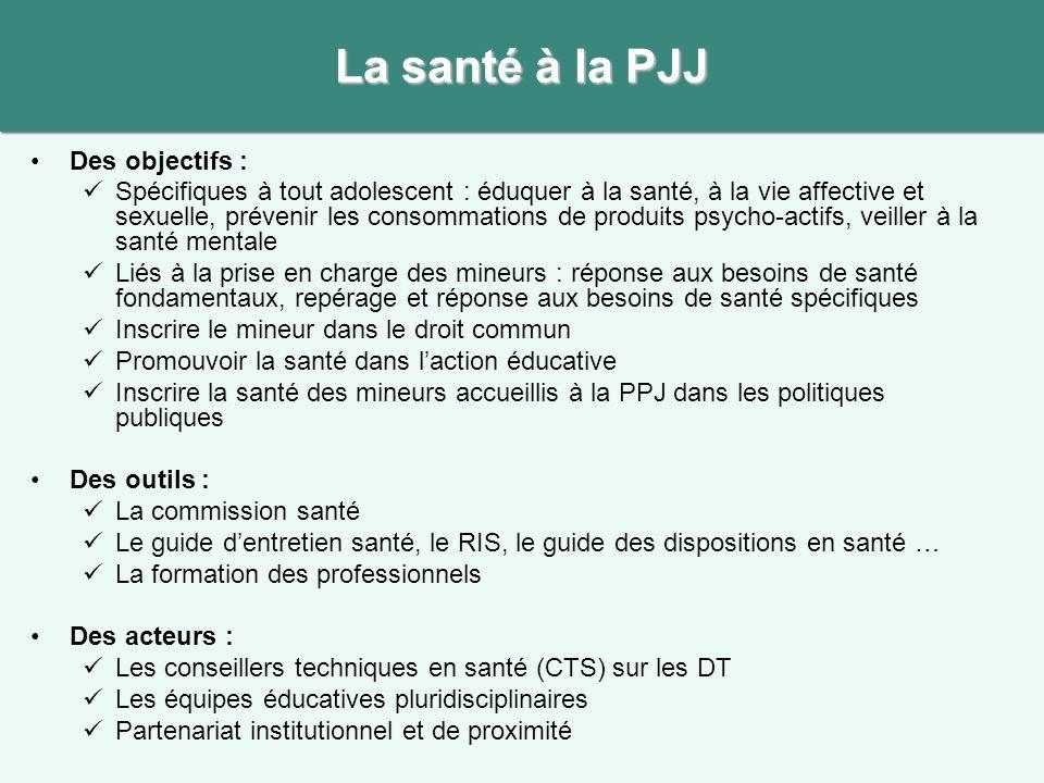 La santé à la PJJ Des objectifs :