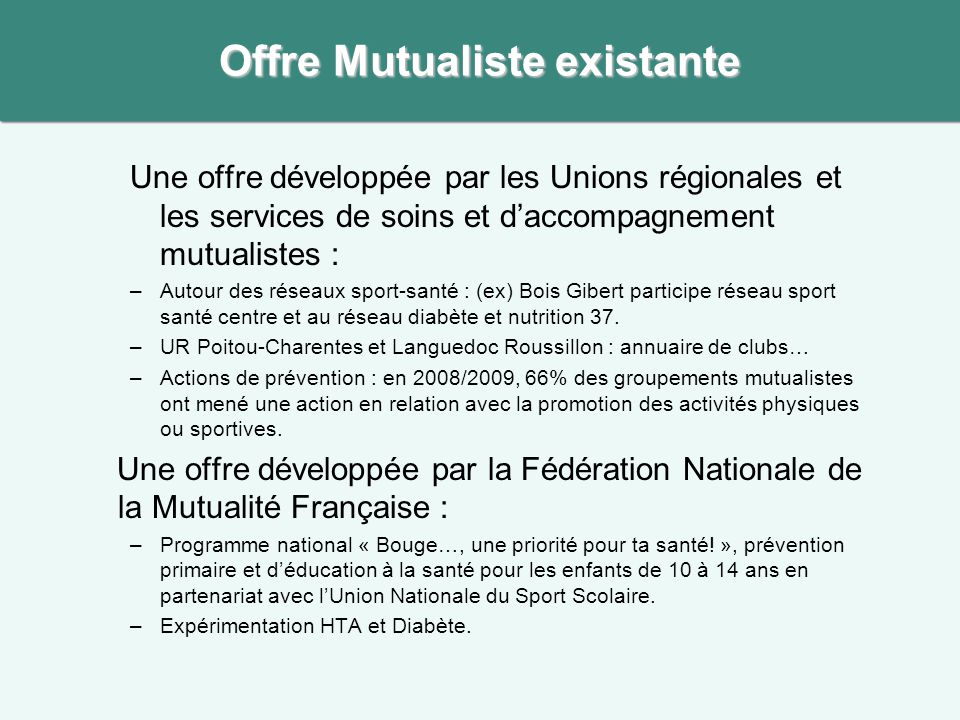 Offre Mutualiste existante