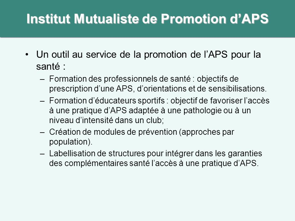 Institut Mutualiste de Promotion d'APS