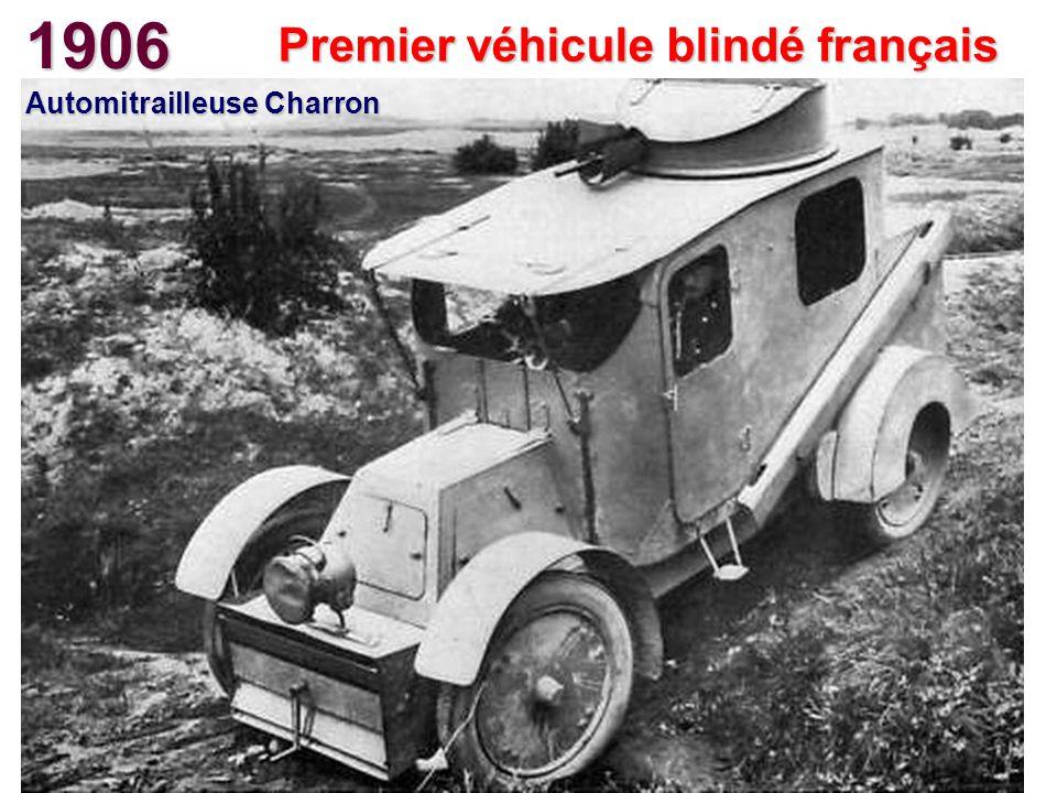 Premier véhicule blindé français Automitrailleuse Charron