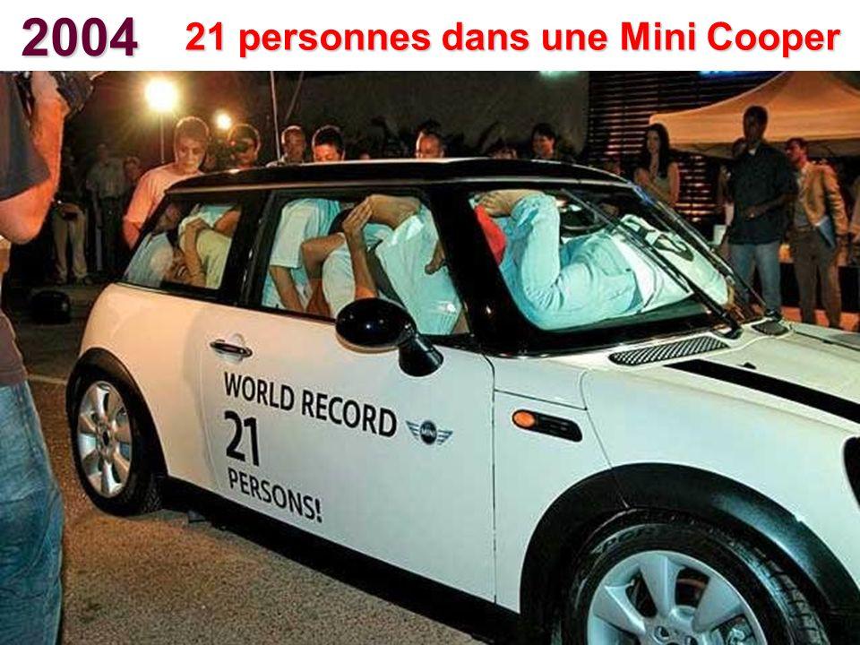 21 personnes dans une Mini Cooper
