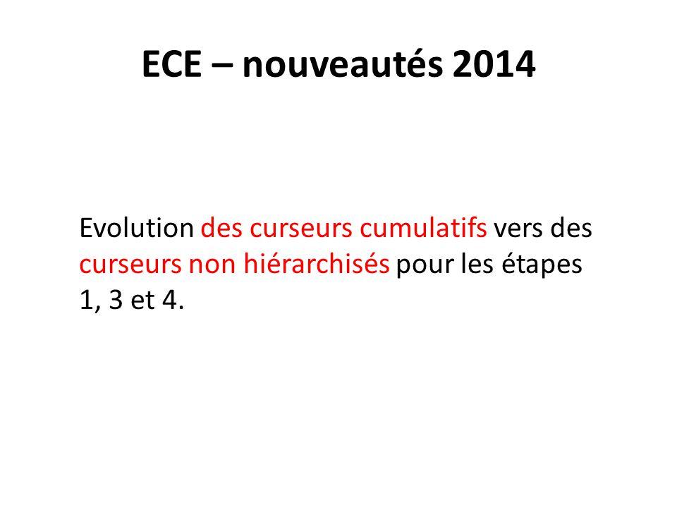 ECE – nouveautés 2014 Evolution des curseurs cumulatifs vers des curseurs non hiérarchisés pour les étapes 1, 3 et 4.