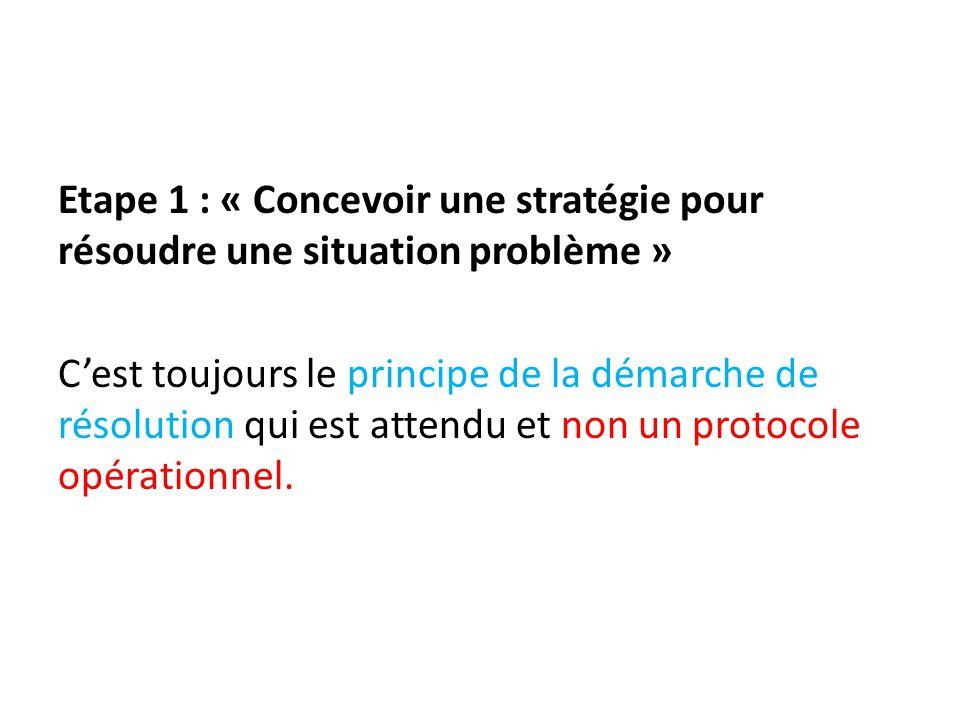 Etape 1 : « Concevoir une stratégie pour résoudre une situation problème » C'est toujours le principe de la démarche de résolution qui est attendu et non un protocole opérationnel.