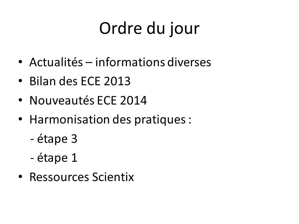 Ordre du jour Actualités – informations diverses Bilan des ECE 2013