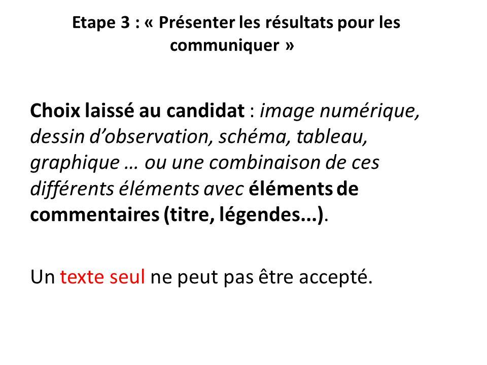Etape 3 : « Présenter les résultats pour les communiquer »