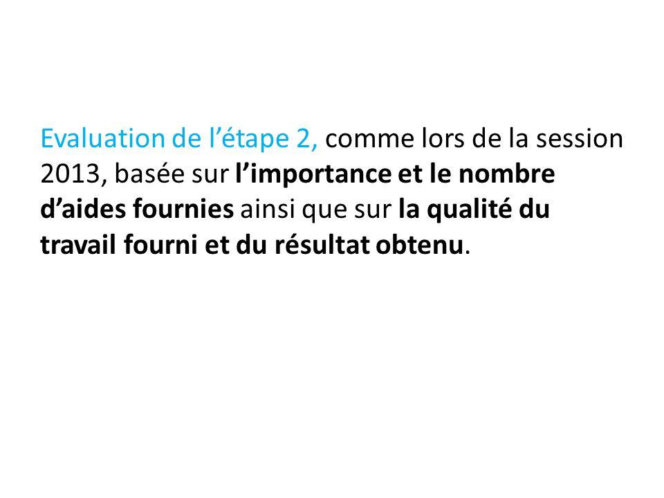 Evaluation de l'étape 2, comme lors de la session 2013, basée sur l'importance et le nombre d'aides fournies ainsi que sur la qualité du travail fourni et du résultat obtenu.