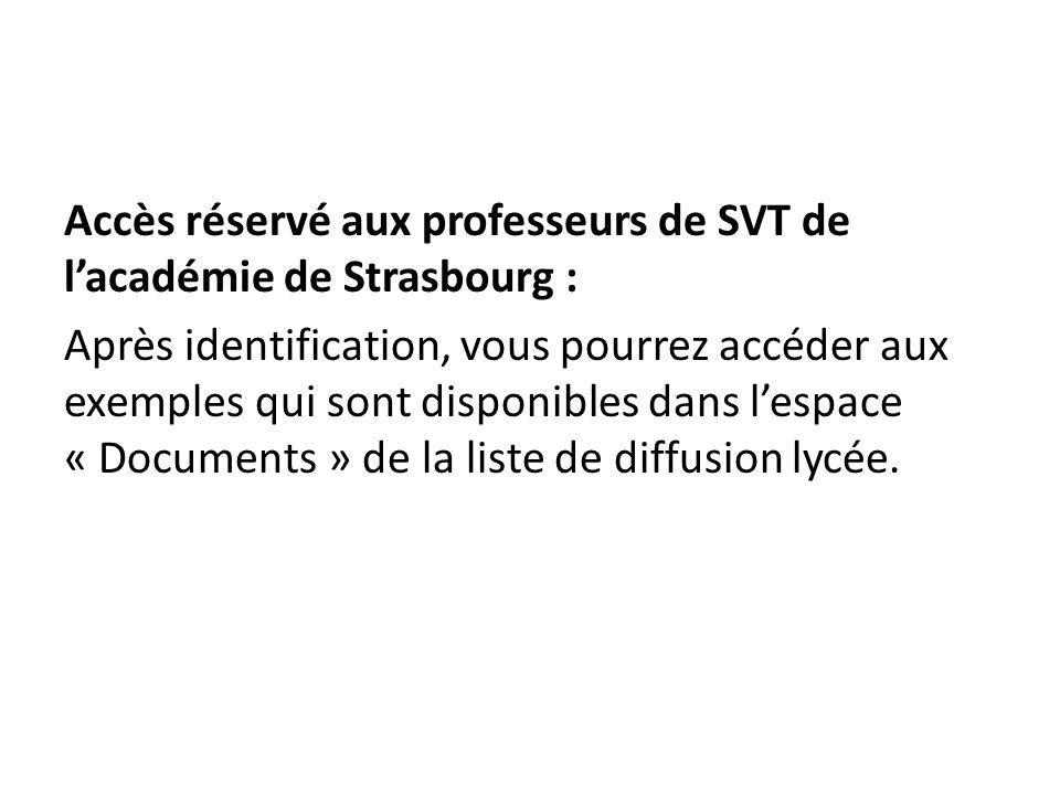 Accès réservé aux professeurs de SVT de l'académie de Strasbourg : Après identification, vous pourrez accéder aux exemples qui sont disponibles dans l'espace « Documents » de la liste de diffusion lycée.