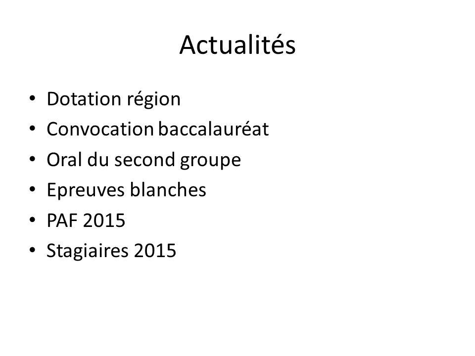 Actualités Dotation région Convocation baccalauréat