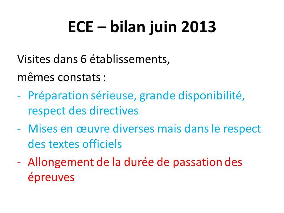 ECE – bilan juin 2013 Visites dans 6 établissements, mêmes constats :