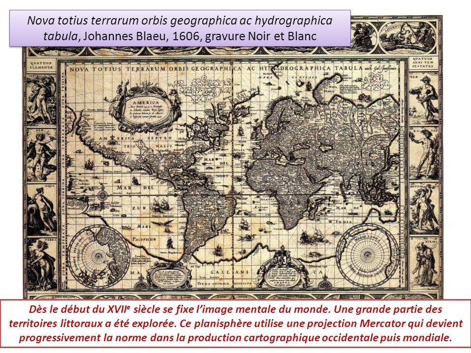 Nova totius terrarum orbis geographica ac hydrographica tabula, Johannes Blaeu, 1606, gravure Noir et Blanc