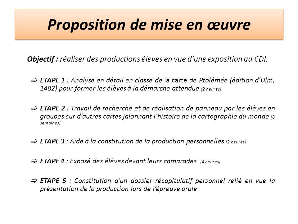 Proposition de mise en œuvre