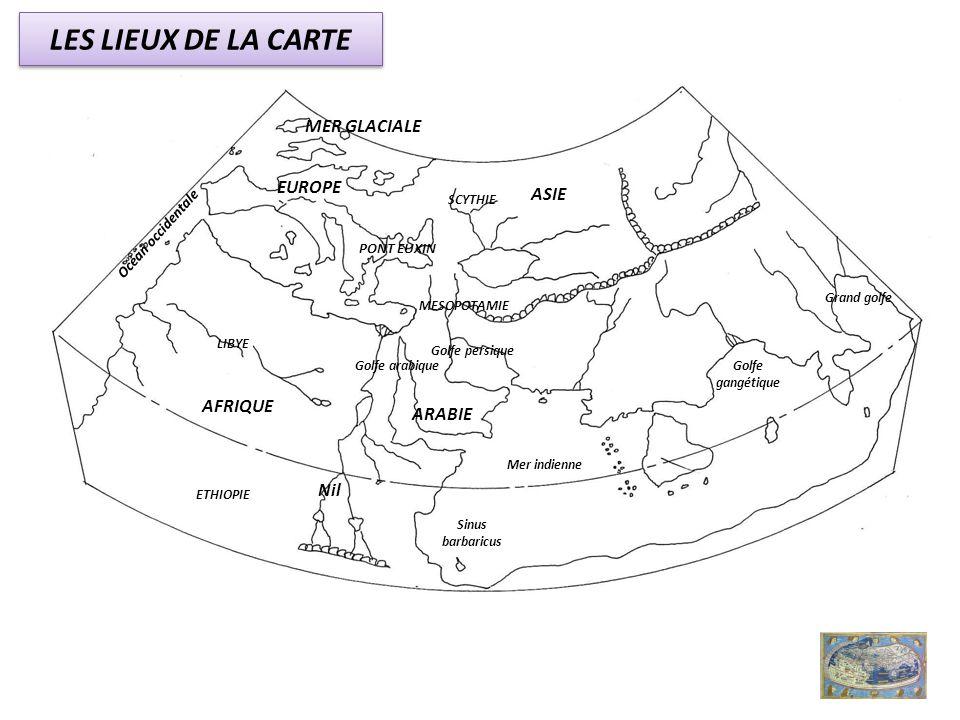 LES LIEUX DE LA CARTE MER GLACIALE EUROPE ASIE AFRIQUE ARABIE Nil
