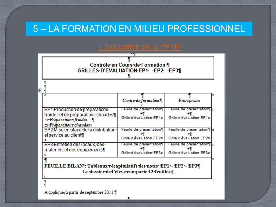 5 – LA FORMATION EN MILIEU PROFESSIONNEL
