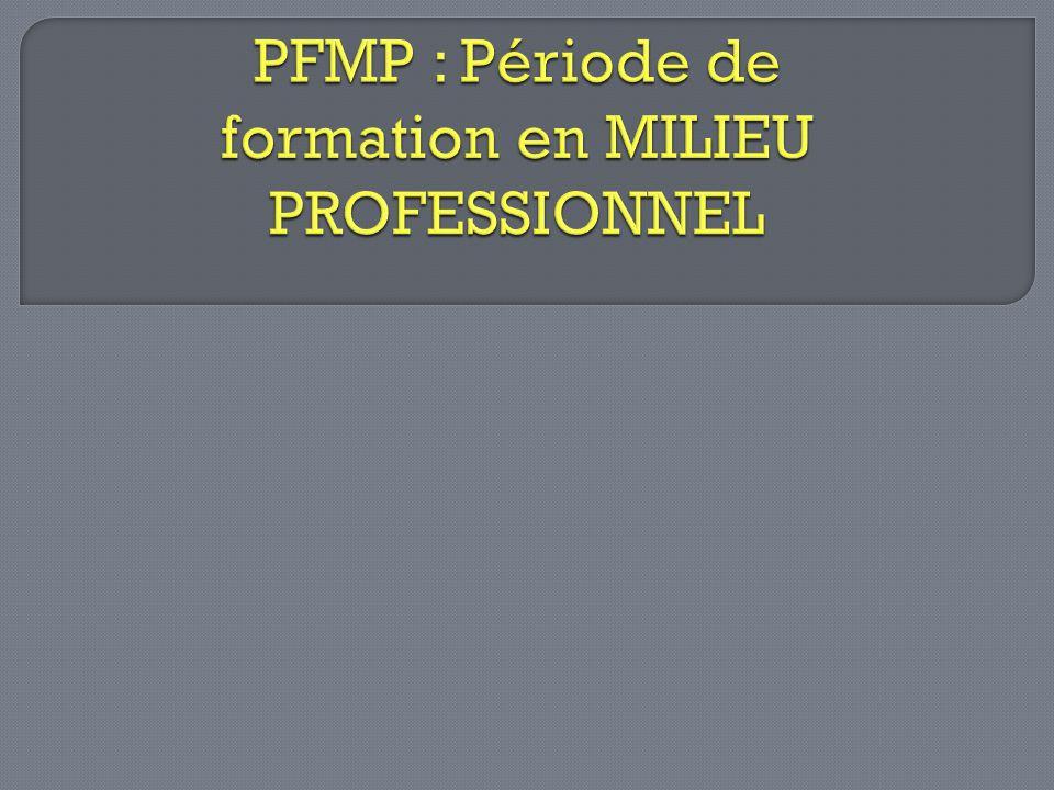 PFMP : Période de formation en MILIEU PROFESSIONNEL